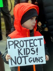 Holden Reilly, 6, of Tarrytown and his mother were among the approximately one-hundred local residents that held an anti-gun rally in Tarrytown Feb. 17, 2018. The rally, held in the wake of the latest deadly school shooting, included parents as well as students from Sleepy Hollow High School.
