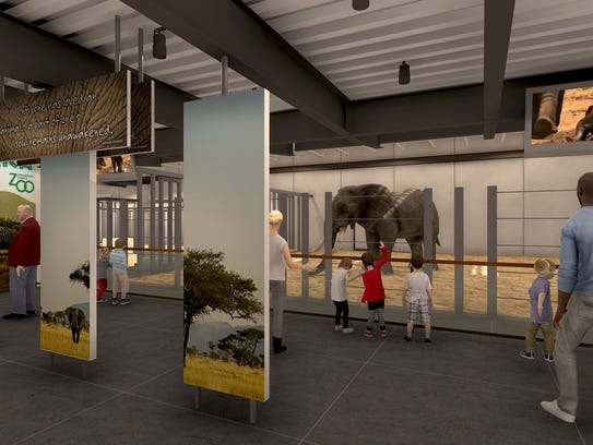 A rendering of inside the new elephant barn.  The Zoological