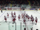 Cornell  University hockey players acknowledge the