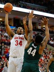 Ohio State's Kaleb Wesson shoots over Michigan State's Nick Ward last season.