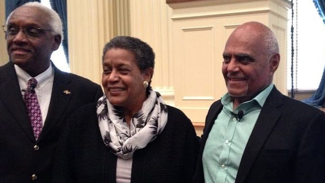 From left: Leslie McLemore, Myrlie Evers-Williams and Robert P. Moses