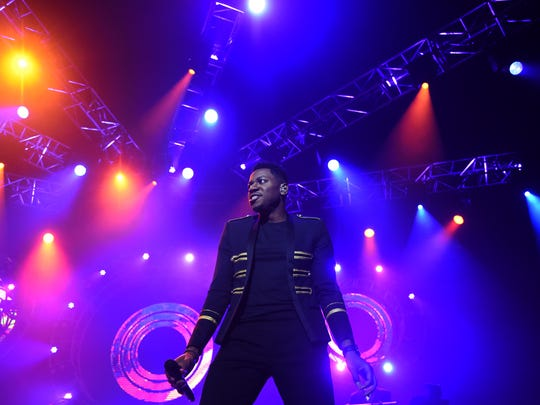 "Knoxville's Chris Blue, who won ""The Voice"" Season 12, performs in the Tennessee Theatre to a sold out crowd Thursday, Sept. 7, 2017."