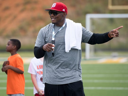 Former Vols linebacker Eric Westmoreland at the Legends of Tennessee football camp Thursday at Northview Academy in Kodak.