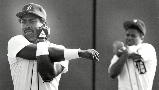 Tiger centerfielder Chet Lemon and second baseman Lou Whitaker in Lakeland, Fla.