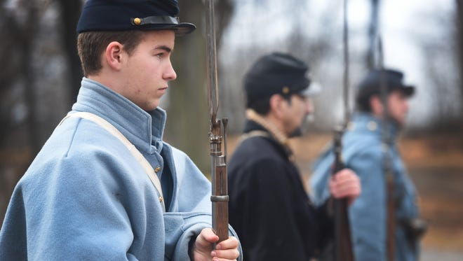 Kevin Marshall, 15, of Ridgewood, was one of several re-enactors at a Civil War encampment on the grounds of the Hermitage National Historic Landmark in Ho Ho Kus this weekend.