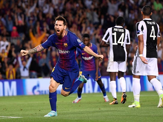 Lionel Messi celebra uno de los goles del Barcelona.