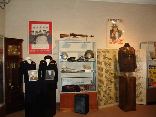 Items in the exhibit honoring those who served in World