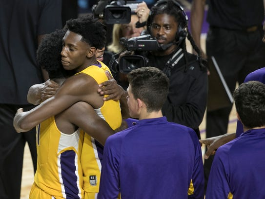 Montverde Academy players celebrate winning the 44th