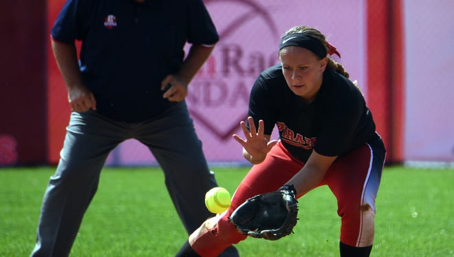 Cardington's Alyson Adams catches a ground ball during the Division III state semifinal on Friday at Firestone Stadium in Akron. The Pirates fell 10-1 to Wheelersburg.