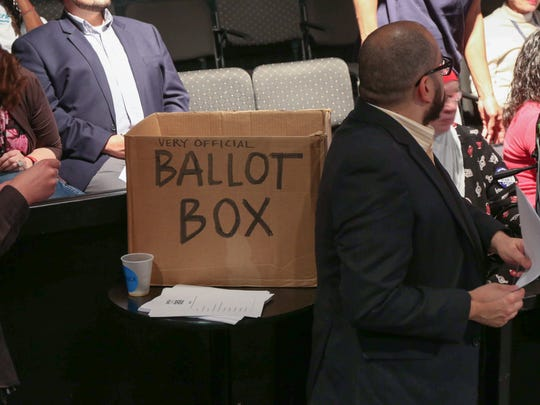 The Very Official Ballot Box at the Des Moines Register Beer Caucus, 2015.