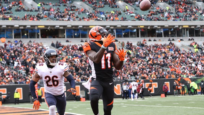 Cincinnati Bengals wide receiver Brandon LaFell (11) makes a touchdown catch in the first quarter during the Week 14 NFL game between the Chicago Bears and the Cincinnati Bengals, Sunday, Dec. 10, 2017, at Paul Brown Stadium in Cincinnati. At the half, Chicago leads 12-7.