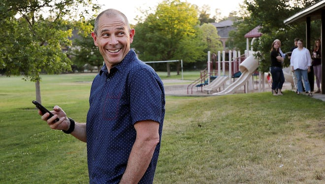 Rep. John Curtis smiles after Chris Herrod called to concede on Tuesday, June 26. 2018, in Provo in the Republican primary for Utah's 3rd Congressional District.
