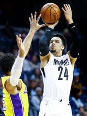 Memphis Grizzlies guard Dillion Brooks puts up a shot against the Los Angeles Lakers during first quarter action at the FedExForum in Memphis, Tenn., Monday, January 15, 2018.