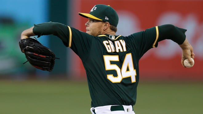 Oakland Athletics pitcher Sonny Gray, working against the Cleveland Indians on Friday, is a pitcher the Yankees are showing interest in getting.