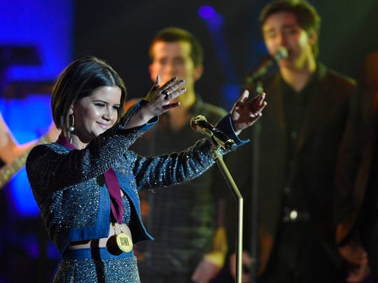 Maren Morris recognizes Keith Urban, winner of the BMI Champion award for his dedication to music education, after she performed a tribute to him at the BMI Music Awards at BMI on Music Row Tuesday Nov. 7, 2017 , in Nashville, Tenn.