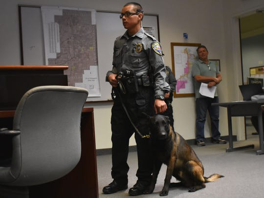 K-9 Moika looks at community members in the City Commission Chambers.