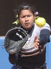 Lubbock High first baseman Jaslyn Rivera waits to catch