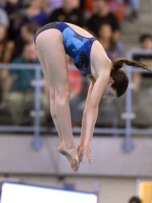 Brighton's Hannah Butler finished in second place in the 1 meter divingfinals at the2017 NYSPHSAA Swimming & Diving Championships at Ithaca College on Friday.