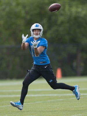 Detroit Lions receiver TJ Jones goes through passing drills during organized team activities Tuesday, June 6, 2017 at the practice facility in Allen Park.