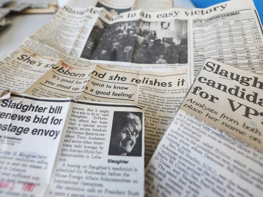 Headlines over the years of Congresswoman Louise Slaughter.