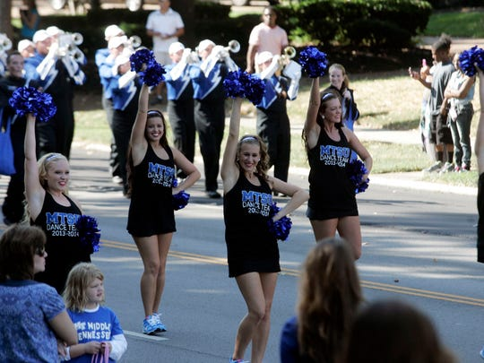 MTSU's Dance Team is one of many university groups to participate in the annual homecoming parade.