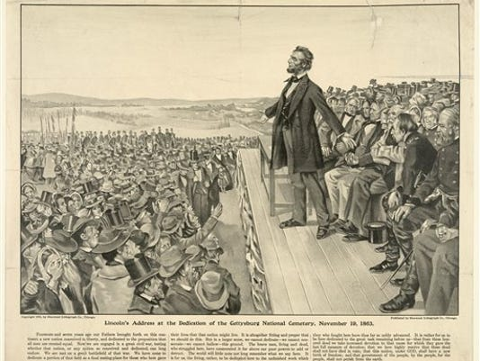 """This 1905 artist's rendering from the Sherwood Lithograph Co. via the Library of Congress depicts President Abraham Lincoln speaking at the dedication of the Gettysburg National Cemetery on Nov. 19, 1863. The Gettysburg Address is unusual among great American speeches, in part because the occasion did not call for a great American speech. Lincoln was not giving an inaugural address, a commencement speech or remarks in the immediate aftermath of a shocking national tragedy. """"No one was looking for him to make history,"""" says the Pulitzer Prize winning Civil War historian James McPherson."""