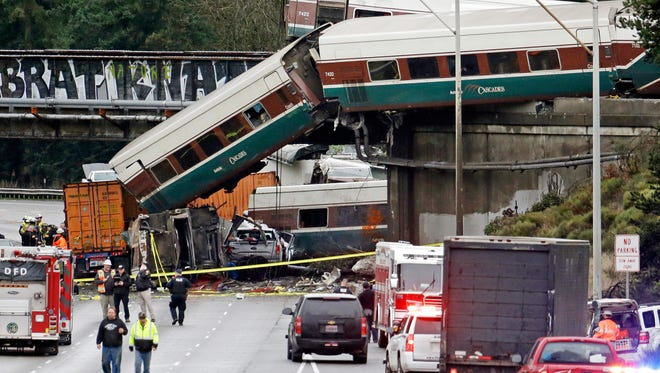 An Amtrak train accident in DuPont, Wash., on Dec. 18, 2017.