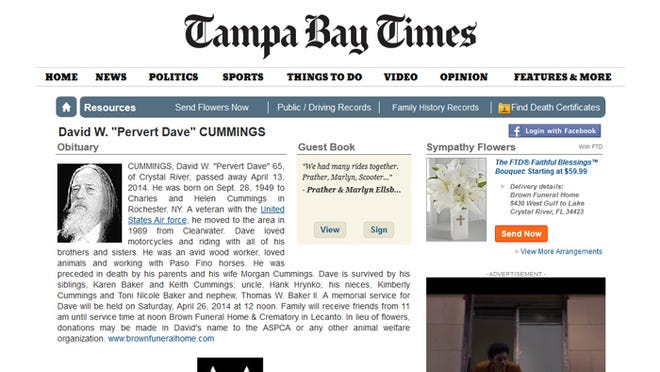 """A screenshot of the David W. """"Pervert Dave"""" Cummings obituary on the Tampa Bay Times' website."""