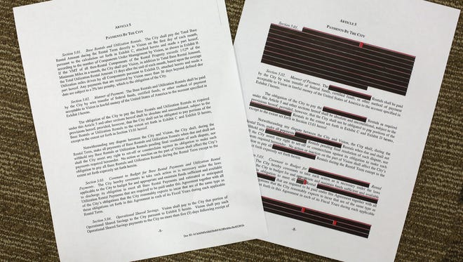 "In response to complaints about a heavily redacted electric car contract with the city, Vision Fleet on Tuesday released the entire document (at left) for public inspection. The city defended the redacted version (right), as necessary to protect ""trade secrets."""