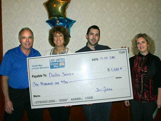 Dustin Sievers from Tweet/Garot (third from left) won one of the $1,000 cash prizes. Pictured here is our 2015 Campaign Chair John Culhane, Nan Taylor from Aspirus Riverview Hospital, Dustin Sievers and United Way of Inner Wisconsin CEO Tari Jahns.
