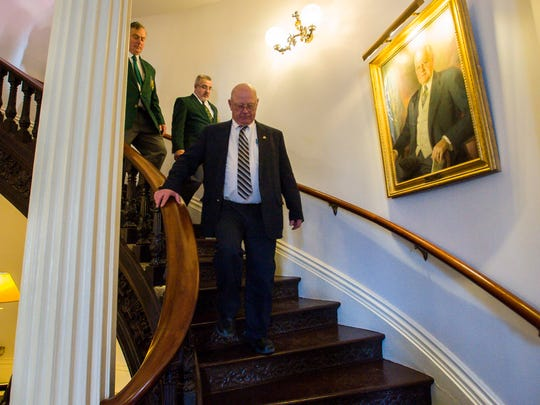 Sen. Norm McAllister, R-Franklin, leaves the  Statehouse after being suspended by the Senate in Montpelier on Wednesday, January 6, 2016.