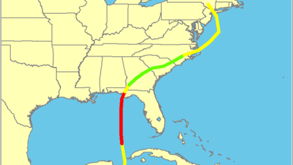 Track of Tropical Storm Agnes (Source: National Hurricane Center)