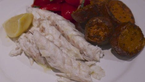 Salt crusted fish.