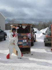 An Elvis-themed outhouse  during the 2010 Trenary Outhouse Classic in Trenary, Michigan.