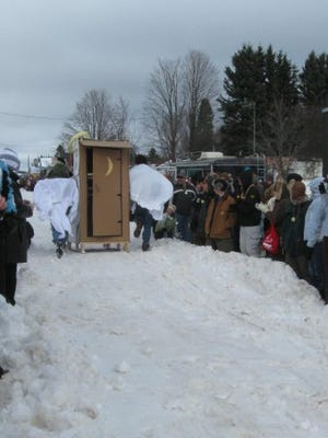 Fifteen to 20 outhouses made of everything from cardboard and wood to plastic and saran wrap and other materials are expected to be entered on race day this year.