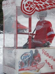 A Red Wings-themed outhouse during the 2010 Trenary Outhouse Classic in Trenary, Michigan.