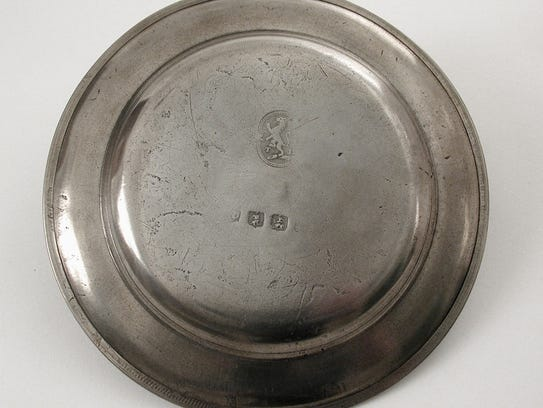 Eight-inch plate made by Thomas Danforth II in the