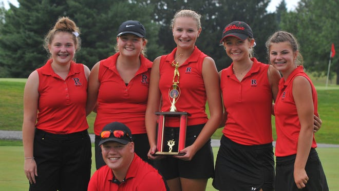 Richmond's girls golf team won its season-opening Richmond Invitational at the Richmond Elks Monday, Aug. 1, 2016. Members are front: coach Caleb Snyder and back (from left), McKenzie McGrew, Bri Fisher, Jacey Cornett, Karissa Owens, and Maggie Camp.
