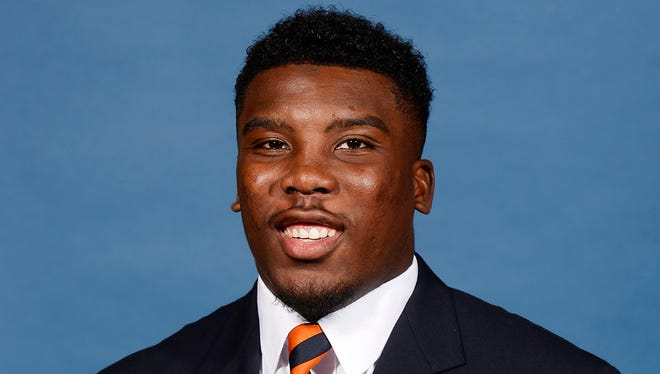 Peyton Barber was injured on his first carry, which resulted in a fumble, during Saturday's A-Day game.