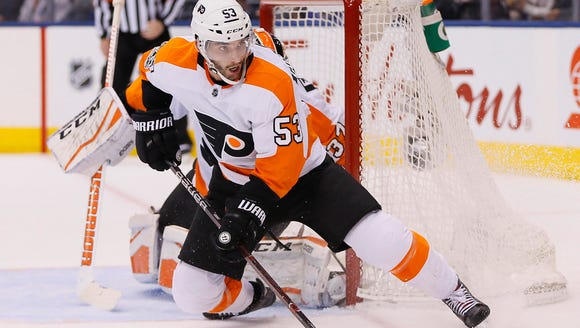 Shayne Gostisbehere left the win after the second period.