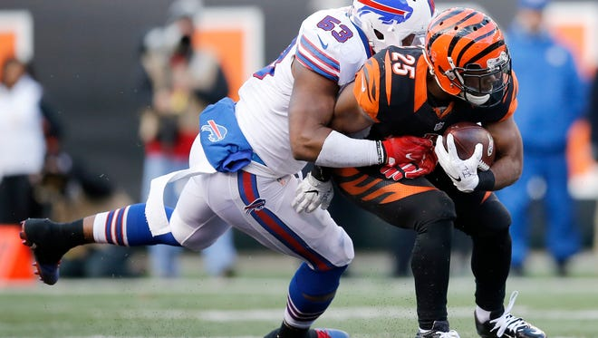 quarter of the NFL Week 11 game between the Cincinnati Bengals and the Buffalo Bills at Paul Brown Stadium in Cincinnati on Sunday, Nov. 20, 2016. The Bengals fell to 3-6-1 with a 16-12 loss to the Bills.