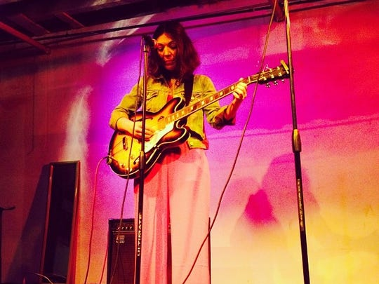 Amy Bezunartea, co-owner of The Kiam Records Shop in Nyack, performs songs at Standard ToyKraft in Williamsburg, N.Y.