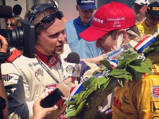 Nick Yeoman interviews Ryan Hunter-Reay in victory lane after the 2014 Indianapolis 500.