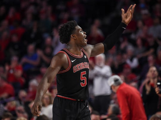 Feb 1, 2020; Athens, Georgia, USA; Georgia Bulldogs guard Anthony Edwards (5) encourages the crowd to make noise during the game against the Texas A&M Aggies during the first half at Stegeman Coliseum. Mandatory Credit: Dale Zanine-USA TODAY Sports