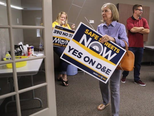 In this Record Searchlight file photo, proponents of the last sales tax hike that appeared on the ballot in 2016 gather at the Redding Chamber of Commerce to show their support.