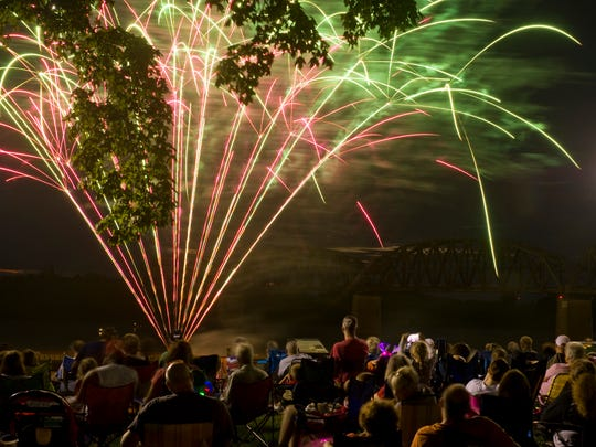 DENNY SIMMONS / THE GLEANER Fireworks light up the sky a past Fourth of July over the Ohio River as spectators take in the show at Audubon Park..
