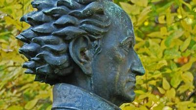 A bronze bust of Goethe that stood in Highland Park for 65 years has been stolen.