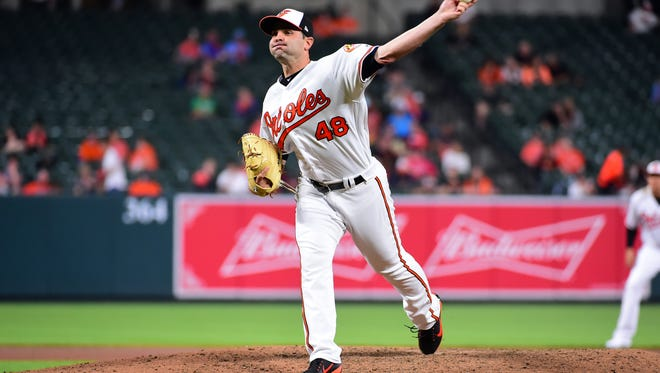 May 9, 2018; Baltimore, MD, USA; Baltimore Orioles pitcher Richard Bleier (48) throws a pitch in the seventh inning against the Kansas City Royals at Oriole Park at Camden Yards. Mandatory Credit: Evan Habeeb-USA TODAY Sports