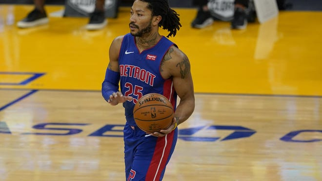 Detroit Pistons guard Derrick Rose against the Golden State Warriors during an NBA basketball game in San Francisco, Saturday, Jan. 30, 2021.