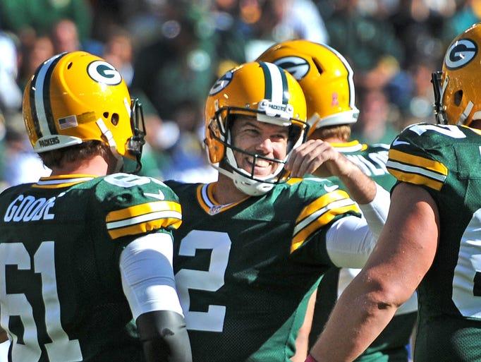 Green Bay Packers kicker Mason Crosby reacts after